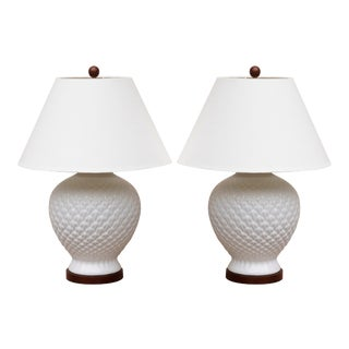 Ralph Lauren White Ceramic Table Lamps - A Pair