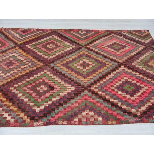 Vintage Turkish Kilim Embroidered Rug - 5′11″ × 9′11″ For Sale - Image 4 of 6