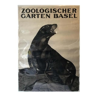 1930s Swiss Zoo Basel Seal on Rock Poster For Sale