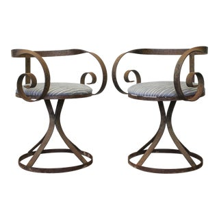 George Mulhauser Sultana Style Outdoor Iron Swivel Armchairs - a Pair For Sale