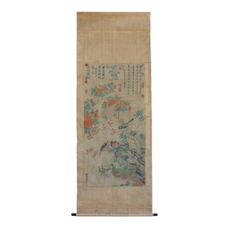 Chinese Flower Birds Color Ink Scroll Painting Museum Quality Wall Art For Sale