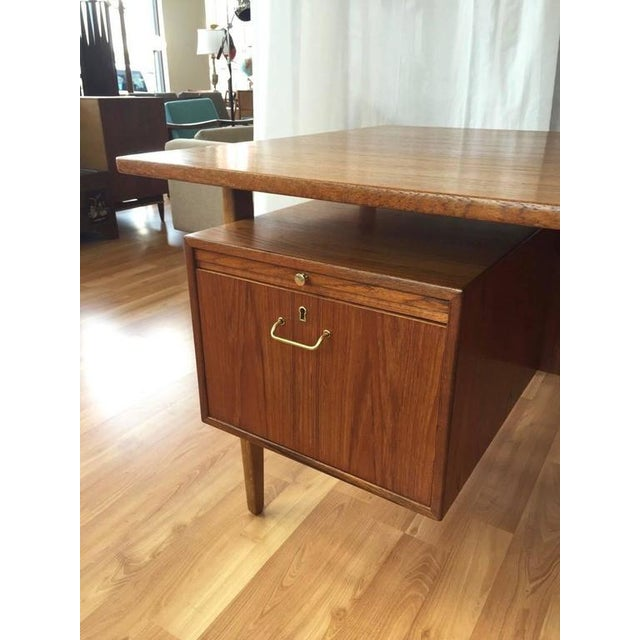 Teak & Oak Floating Top Executive Desk For Sale - Image 4 of 10