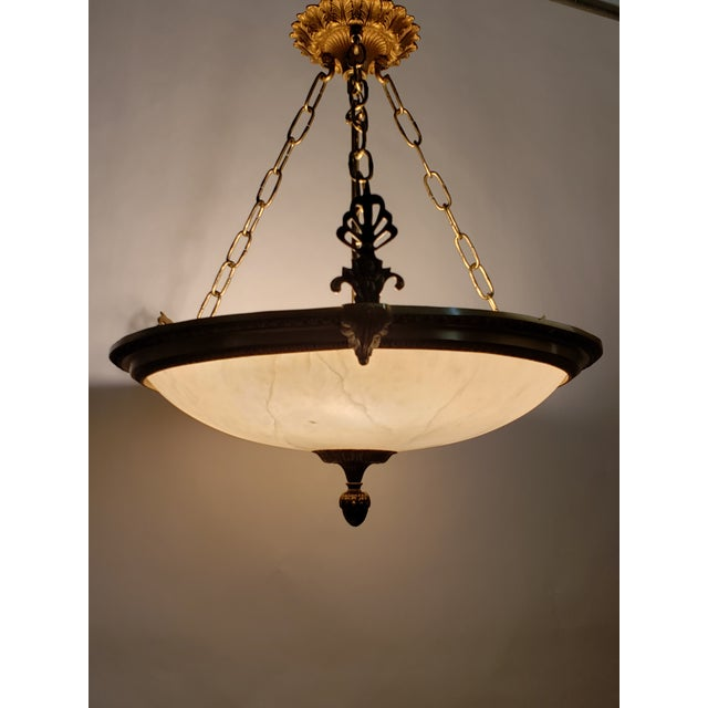Fine Neoclassical Empire Style Alabaster & Dore Bronze Chandelier For Sale - Image 12 of 12
