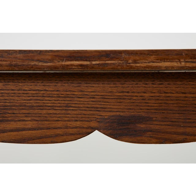 Country English Provincial Oak Farmhouse Trestle Dining Table For Sale - Image 11 of 13