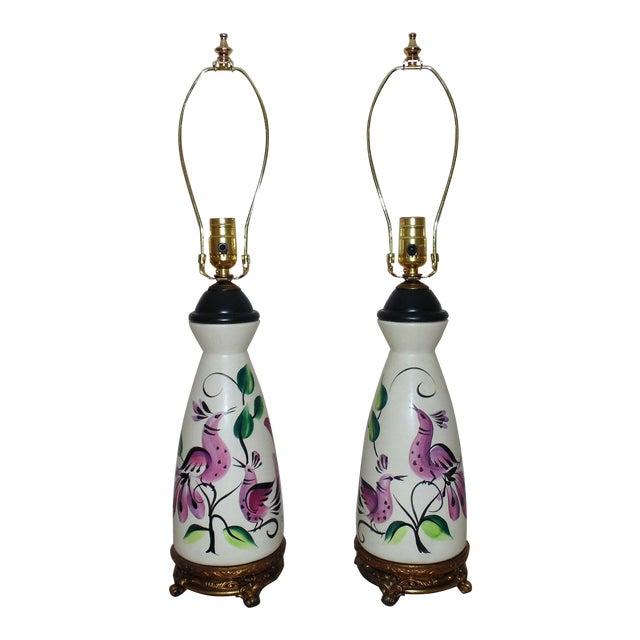 Table Lamps Vintage Marc Bellaire Mid-Century Modern Vase Form W/ Birds - a Pair For Sale
