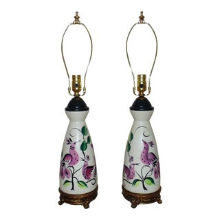 Vintage Marc Bellaire Mid Century Modern Vase Form Table Lamps W/ Birds - a Pair For Sale