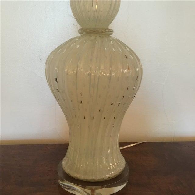 Alfredo Barbini Large White Opaline Murano Lamp For Sale In San Antonio - Image 6 of 7