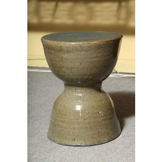 Hourglass Shaped Handmade Ceramic Drinks Table or Stool With Celadon Glaze Preview
