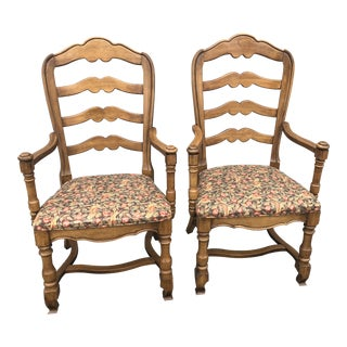 1980s Vintage Ethan Allen Country French Armchairs- A Pair For Sale