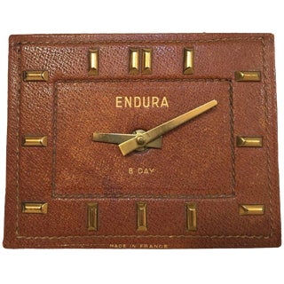 French Endura Jacques Adnet Style Leather and Brass Desk Clock For Sale