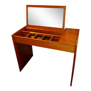 Mid Century Teak Danish Modern Flip Top Vanity For Sale
