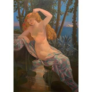 "Large French ""Twilight"" Art Nouveau Painting For Sale"