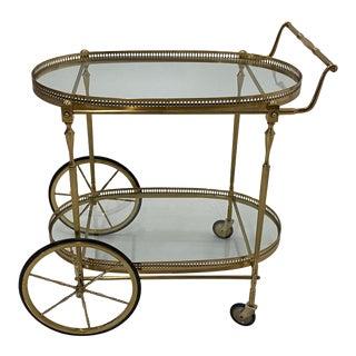 Mid-Century Modern Oval Brass & Glass Bar Cart For Sale
