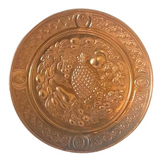 Mid-Century Fruit Motif Stamped Copper Decorative Wall Plate For Sale