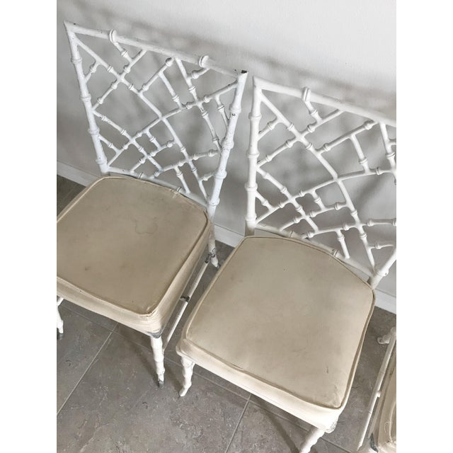 1960s Vintage Phyllis Morris Style Metal Faux Bamboo Chairs - Set of 4 For Sale - Image 5 of 8