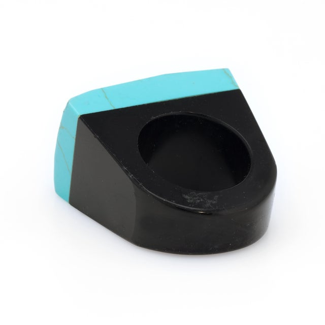 Mid 20th Century East West Turquoise Onyx Diamond Cocktail Ring For Sale - Image 5 of 7