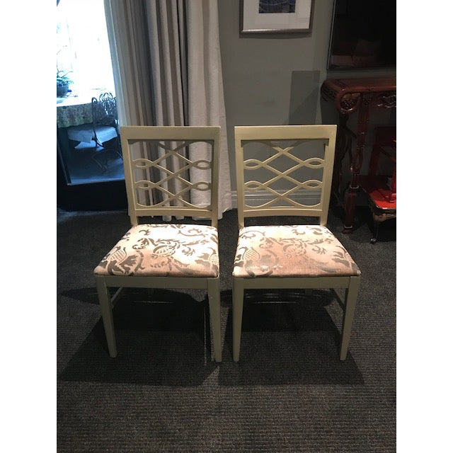 Mid-Century Stenciled Velvet Dining Chairs - a Pair For Sale - Image 13 of 13