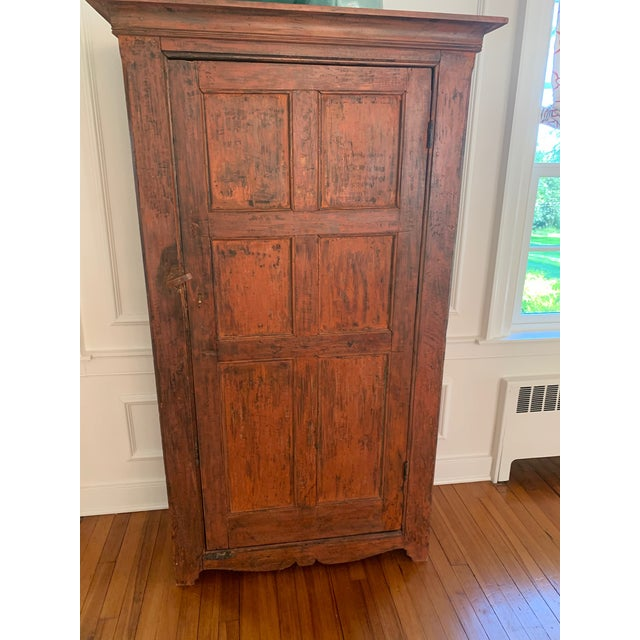 Distressed Painted Vintage Vermont Cupboard For Sale - Image 9 of 9