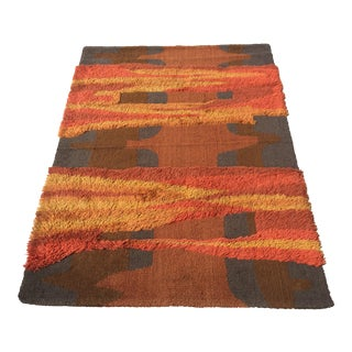 Orange and Red Rya Ege Rug 4′6″ × 6′6″ For Sale
