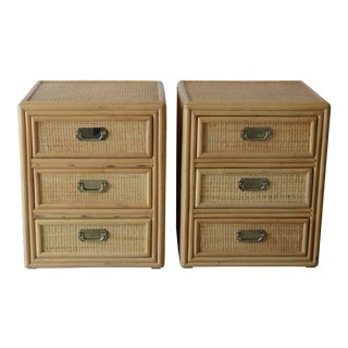 1980s Vintage Rattan Nightstands - a Pair For Sale