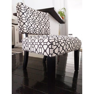 Modern Graphic Print Black & White Accent Chair Preview