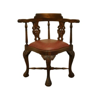 1940's Vintage Antique Traditional Chippendale Style Mahogany Accent Corner Arm Chair For Sale