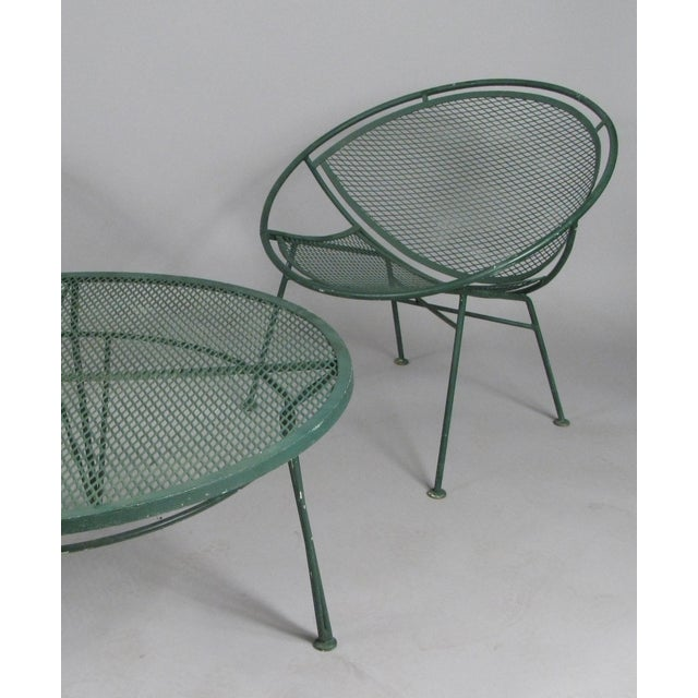 Mid-Century Modern 1950's Radar Lounge Chairs and Coffee Table by Salterini - Set of 3 For Sale - Image 3 of 9