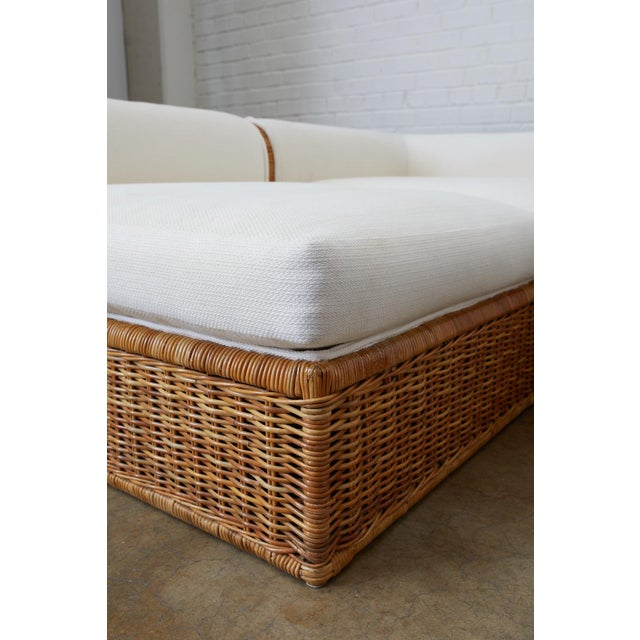 Michael Taylor Style Rattan Wicker Sectional Sofa For Sale In San Francisco - Image 6 of 13
