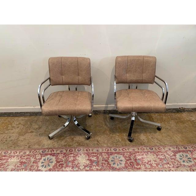 1980s Swivel Rocker Desk Chair For Sale - Image 10 of 11