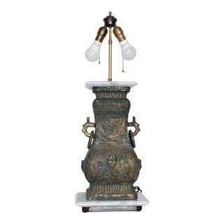 Elegant Asian Bronze Table Lamp Mid Century Modern Style of James Mont For Sale