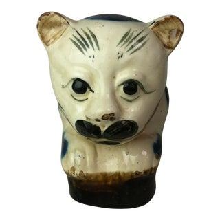 19th Century Vintage Asian Blue & White Porcelain Cat Figure Pillow For Sale