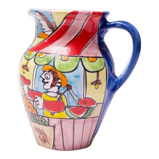 Hand Painted Italian Ceramic Pitcher by Marco Prinzi for La Musa For Sale
