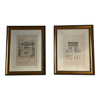 Antique Framed French Architectural Prints- Set of Two For Sale
