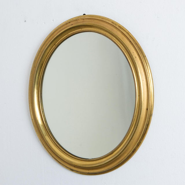 Rustic European Antique Napoleon III Brass Oval Mirror For Sale - Image 3 of 5