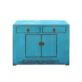 Chinese Distressed Rustic Bright Turquoise Blue Foyer Console Table Cabinet For Sale
