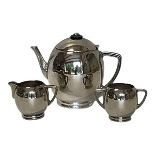 Art Deco Silver Plate Tea Set - Set of 3 For Sale