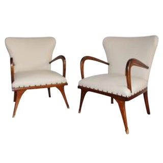 Italian Beige Leather Chairs - A Pair