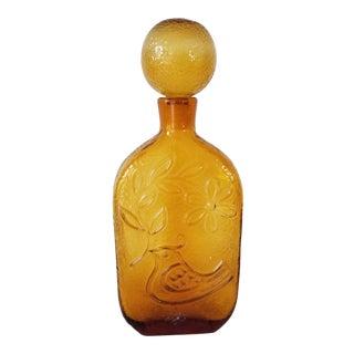 Vintage Amber Glass Decanter Bottle . For Sale