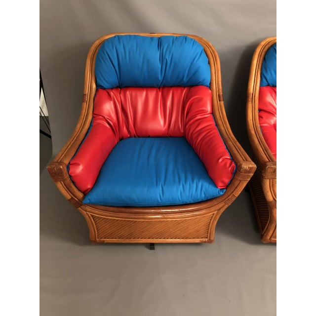 1960s 1960s Mid Century Modern Maguires Style Red and Blue Upholstered Rattan and Bamboo Outdoor Swivel Chairs - a Pair For Sale - Image 5 of 11