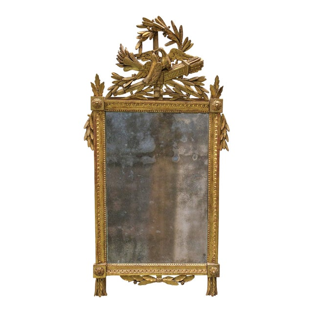 Louis XVI 18th Century Mirror With Two Birds in the Crest For Sale - Image 6 of 8