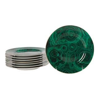 Set of 8 Malachite Dessert Plates For Sale