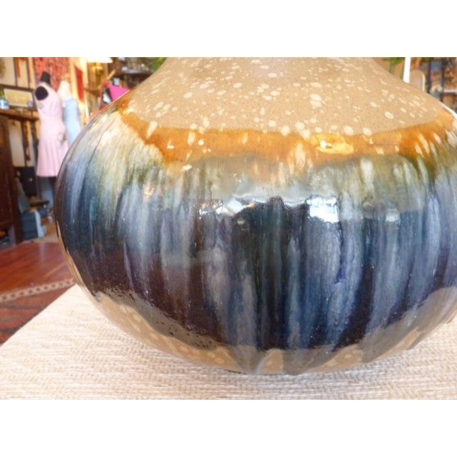 Blue and Tan Drip Glaze Table Lamp - Image 4 of 8
