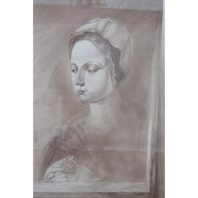 Set of Two Pencil and Charcoal Portraits For Sale - Image 4 of 11