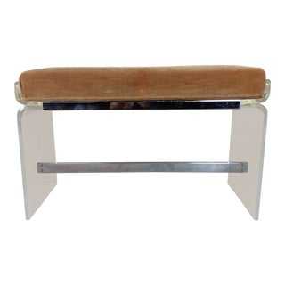 1970s Vintage Charles Hollies Johns Lucite Bench For Sale