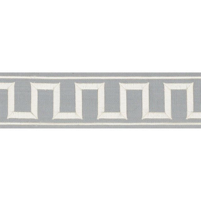 Contemporary Schumacher X Miles Redd Greek Key Embroidered Tape Trim in Sky For Sale - Image 3 of 3