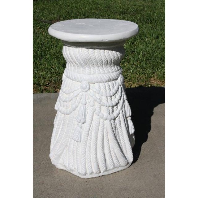 Vintage Plaster Rope Fringe Tassel Side Table / Drinks Table / Stool For Sale - Image 13 of 13