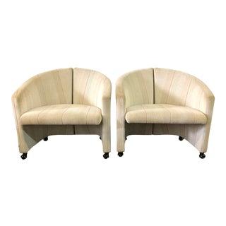 Pair Saporiti Armchairs on Casters