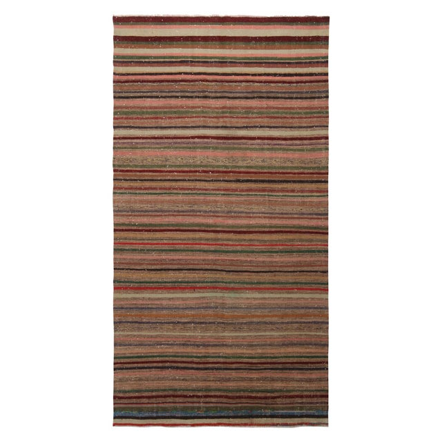 Vintage Geometric Striped Beige Brown and Multicolor Wool Kilim Rug For Sale In New York - Image 6 of 6