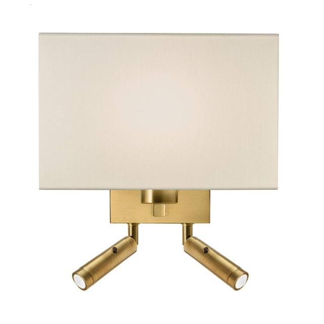 Mid-Century Modern Combination Wall Light With Twin Led Reading Light in Brushed Brass For Sale - Image 3 of 3