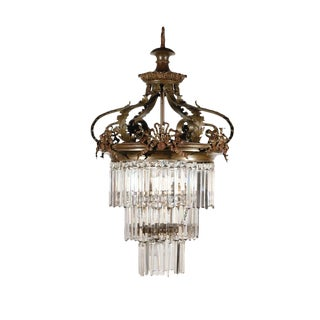 Victorian Crystal and Bronze Chandelier For Sale